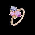 Ροζ Χρυσό Δακτυλίδι με Ζαφείρι & Μπριγιάν