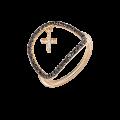 Χρυσό Δακτυλίδι κρεμαστός Σταυρός με Μπριγιάν