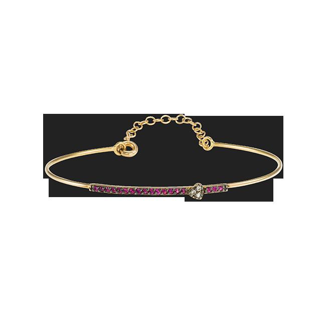 0427cfde90 Βραχιόλι Καρδιά από Ροζ Χρυσό Μπριγιάν   Ρουμπίνια - Garofalaki Jewelry