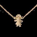 Γυναικείο Μενταγιόν Κοριτσάκι Ροζ Χρυσό Κ18